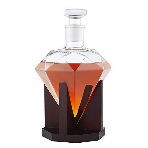 AMAVEL Whisky Karaffe in Form eines Diamanten, Dekanter mit luftdichtem Verschluss, Holz-Ständer, Hergestellt in Handarbeit, 1000 ml