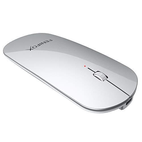 FENIFOX Kabellose Maus, Bluetooth Dünn Klein Slim Wiederaufladbare, Mäuse bloothooth schnurlose kompatibel mit Allen Bluetooth-Geräten, Geeignet für Reisen Geschäftsreise (Silber) - Für Apple-computer Maus