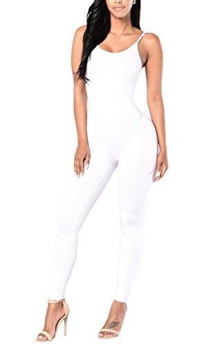 Smile YKK Combinaison Bretelle Femme Jumpsuit Pantalon Ensemble One Pièce Dos Nu Casual Eté Blanc