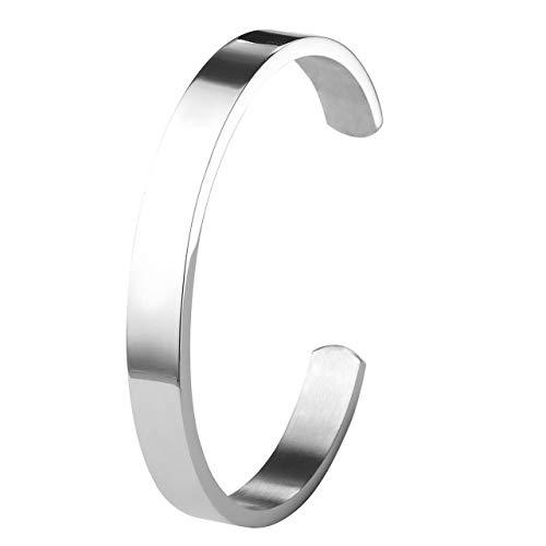 ZystaEdelstahl Armband Männer Frauen Armreif Damen Herren Armspange Silber Gold Schwarz Verstellbar (Silber-Damen)