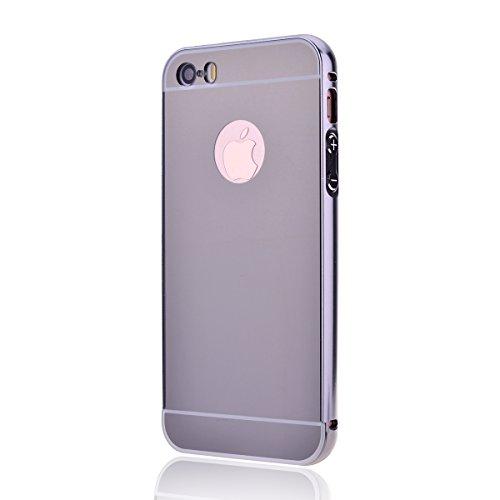 Luxe Mirror Arrière Etui pour Apple iPhone 6 / 6S (4.7 pouces), HB-Int 3 en 1 Aluminium Métal Bumper Coque Fashion Design Housse Légère Slim Case Protecteur Fonction Anti Choc Anti Rayure Étui + Style Gris