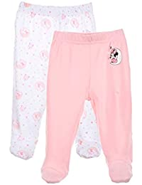 Minnie Lot de 2 Pantalons à Pieds Coton bébé Fille Rose et Violet ... e9ac6642733