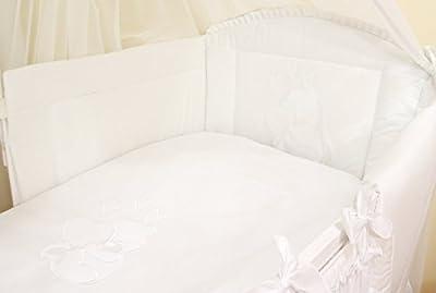 Ropa de cama para cuna de bebé, 100% algodón, conjunto completo de 3piezas con funda de edredón, funda de almohada y protector de cuna, diseño bordado de osito blanco blanco Talla:120x60cm