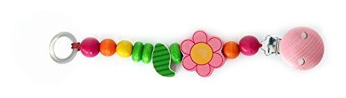 Schnullerkette rosa Blume 210 x 40 x 40 NEU Schnullerband Holz