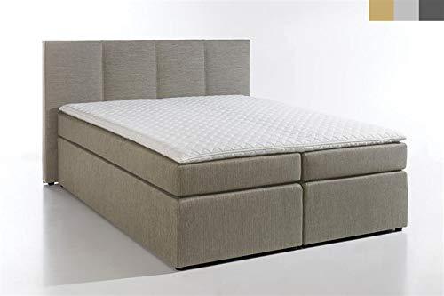 Furniture for Friends Boxspringbett KAZ-01 inkl. Visco-Topper, 7-Zonen Taschenfederkern-Matratze, Hotelbett Doppelbett Polsterbett