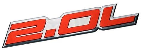 2.0L Liter Embossed RED on Highly Polished Silver Real Aluminum Auto Emblem Badge Nameplate for Ford Edge Escape SEL Escort Explorer Focus SE SES ZX3 ZX4-SE ST SVT Fusion Transit XL XLT Dodge Colt Ram 50 Dart Rallye SE Aero Caliber SE Express Neon ES SXT Avenger Intrepid Plymouth Laser Neon Jeep Patriot Latitude 4WD Compass VVT DOHC Chevrolet Chevy Cobalt HHR SS Tracker LSi Malibu LTZ Sedan coupe 2 3 4 5 2dr 3dr 4dr 5dr door hatchback turbo turbocharged