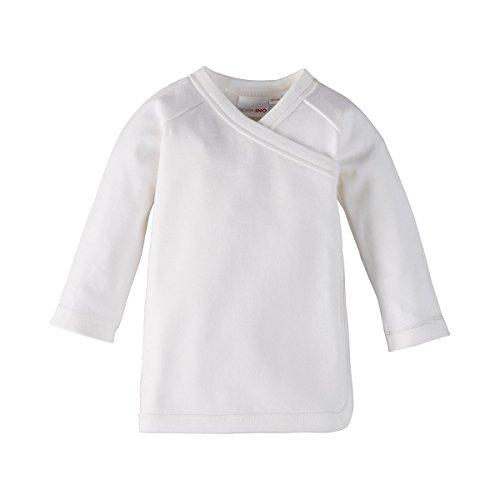Bornino Bornino GOTS Raglan-Flügelhemd/Wickelshirt/Erstlingshemd - Farbe: weiß/Weiss, Langarm, mit Druckknöpfen und Bindebändern - Babykleidung für Jungen/Mädchen