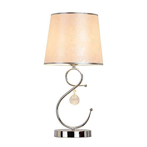 Oevina Modern Moderne Kreative Nachttischlampe Tbale, Dimmbare Einfache Kristall Pendelleuchte Schreibtisch Licht Chrom Finish E27 Schmiedeeisen Wohnzimmer Tisch Licht-Licht (Color : Button Switch) -