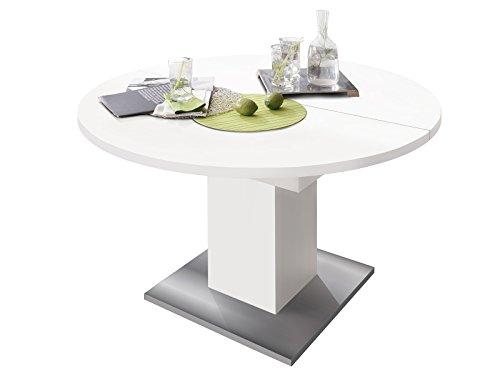 """Esszimmertisch Speisentisch Esstisch Tisch Küchentisch Holztisch \""""Judd III\"""" weiß matt/Edelstahloptik"""