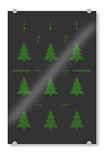 artboxONE Acrylglasbild 90x60 cm Weihnachten Binäre Weihnachtsbäume - Bild Hässlicher Pullover