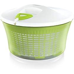 Leifheit Essoreuse à salade en plastique ComfortLine, mécanisme d'essorage à cordon innovant, utilisable comme saladier ou passoire, blanc et vert