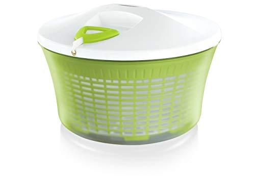 Leifheit Salatschleuder ComfortLine-Serie mit Rechts-/links-Drehmechanismus im Deckel, Salattrockner inklusive Salatschüssel und Sieb, trocknet den Salat effektiv und schonend -