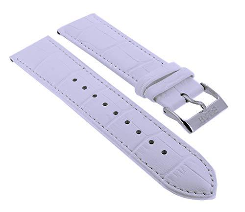 Esprit Ersatzband 22mm | Leder weiß mit Krokoprägung passend für Armbanduhr ES103822001 103822007