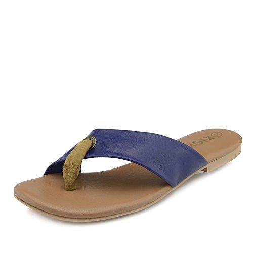 Kick Footwear Frauen-Sommer-Komfort-Sandalen aus Leder - UK 7/EU 40, Tan - Navy Tan Thong Sandalen