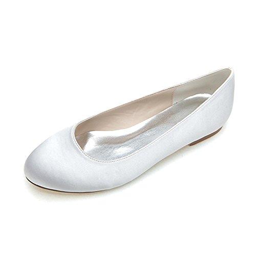 L@YC Donne scarpe scarpe appartamento comodo satin primavera estate autunno inverno con / cortili di grandi dimensioni multicolore White