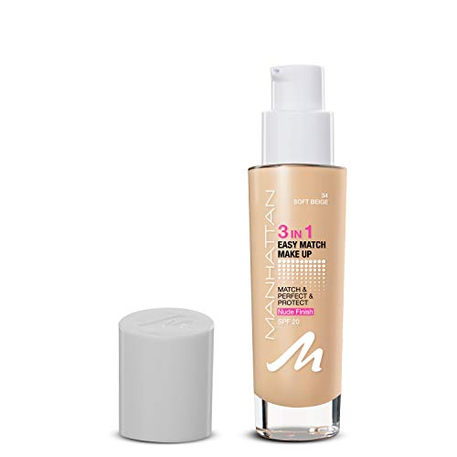 Manhattan 3in1 Easy Match Make-up, Flüssig Foundation für helle Haut mit LSF 20, Farbe Soft Beige 34, 1 x 30ml