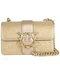 64213551080d Damen Accessoires Pinko Love Bag Mini Tasche Pailletten Gold Leder Frühling-Sommer  2018