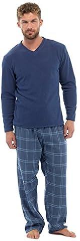 Mens Thermal Fleece Top & Flannel Check Bottoms PJ Pyjama Set Winter Nightwear (2XL 47-19 CHEST,