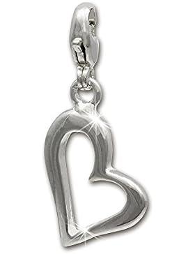 SilberDream offenes Herz glanz Charm 925 Sterling Silber Charms Anhänger für Armband Kette Ohrring FC508