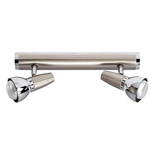 DeMarkt 506020202 Spot Double sur Rail à 2 Lampes Orientables Plafonnier Design Moderne en Métal couleur Chrome pour Salle de Bain Chambre Cuisine 2x40W R50 E14