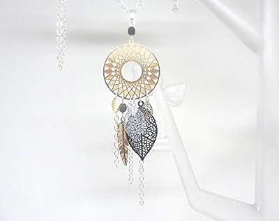 Sautoir long collier doré noir argenté attrape-rêves dreamcatcher plume feuilles perles verre de Bohême mariage cérémonie
