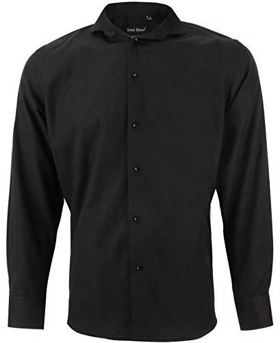 Enzo camicia uomo oxford nero regular fit elegante colletto classico taglia xxl