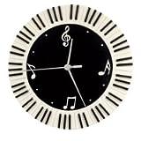 Clavier de piano et notes de musique Horloge murale ronde