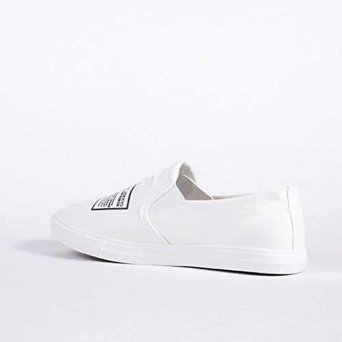 Ideal Shoes Slip-On en Toile avec Inscription et éraflures Jasmine Blanc