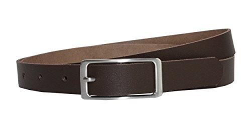 Vascavi Ledergürtel 100% echt Leder, 2 cm breit und ca. 0.25 cm stark, Gürtel, Hüftgürtel, Jeansgürtel, Made in Germany (90 cm Gesamtlänge 100 cm, Dunkelbraun) 2. Leder