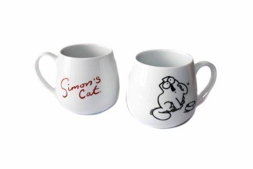 KCG Simons Cat - Tazas de desayuno (taza con texto en inglés y taza con diseño de gato hambriento), color blanco