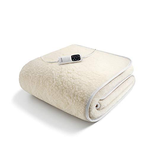 Imetec scaldasonno adapto singolo 150 x 80 cm, riscaldamento rapido, temperatura costante e personalizzata, 100% lana e merino, comando con 6 temperature, made in italy