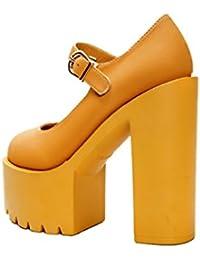 Xianshu Women Buckle Rough Heel High Heels Single Shoes Pompes