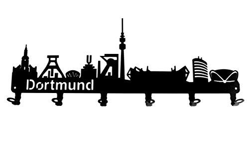 steelprint.de Wandgarderobe - Skyline Dortmund - Flurgarderobe - Nordrhein-Westfalen NRW - Kleiderhaken, Hakenleiste, Garderobeneiste, Garderobenhalter, Garderobe - Metall, Schwarz
