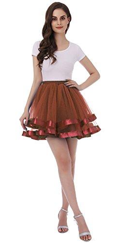 Tsygirls 50er Vintage Retro Ballettrock Unterrock Kurz Tutu Röcke Unterrock Unterrock Pettiskirt Petticoat Schokolade