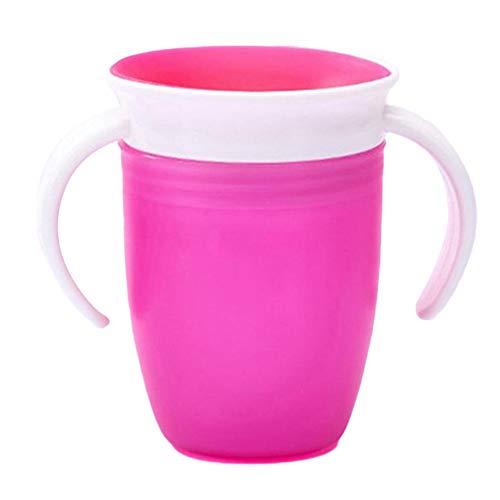 0Miaxudh Trinkbecher, 360 Grad drehbares Baby, das Trinkwasser-Cup lernt, Griff Anti-Choke-Flasche Pink - Baby-lernt Flasche