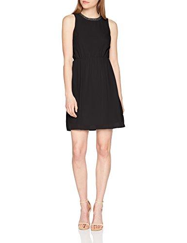 VERO MODA Damen VMDENICE S/L Dress D2-2 Kleid, Schwarz Black, 38 (Herstellergröße: M) -