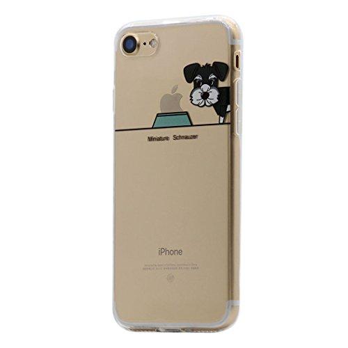 iPhone 8 Plus / 7 Plus Funda Carcasa , Keyihan Perro Lindo patrón Suave TPU Silicona Transparente Ultra Delgada y Ligéra Parachoques para Apple iPhone 8 Plus / 7 Plus (Schnauzer Miniatura)