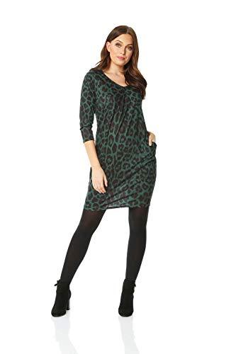 Roman Originals Damen Kleid mit Tiermuster - Damen V-Ausschnitt, Knielänge, 3/4 ärmlig, zum Ausgehen, Party, für tagsüber, Tunikakleider - Grün - Größe 42