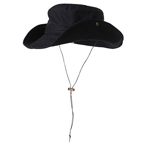 SIGGI Faltbarer Boonie Buschhut Sonnenhut Unisex UPF 50+ Outdoor schwarz Schwarze Outdoor Hut