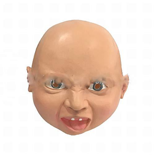 JIE Schreie Halloween Cosplay Maske Der Lustigen Baby-Latexmaske des Verärgerten Gesichtssmileygesichtes Der Straße,lächelndes Gesi,1