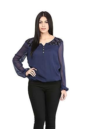 Mayra Women's Plain Regular Fit Top (Z1602T09264_Navy Blue_Small)
