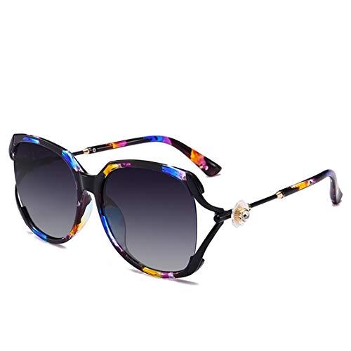 UV-Schutz Graceful Blumen und Kristall Vollformat-Sonnenbrillen für Frauen. Brille (Farbe : Blau)
