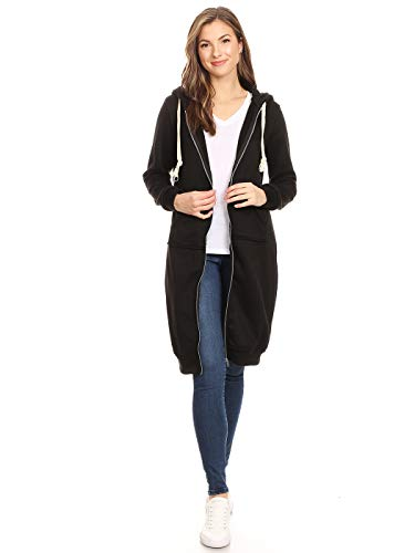 Anna-Kaci Damen Oversized Long Zip Up Hoodie Sweater Sweatshirt Kleid Jacke Gr. Medium, Schwarz