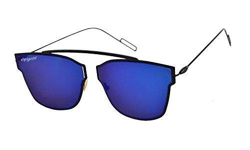 Elegante UV Protected Blue Mirrored Premium Rectangular Unisex Sunglasses
