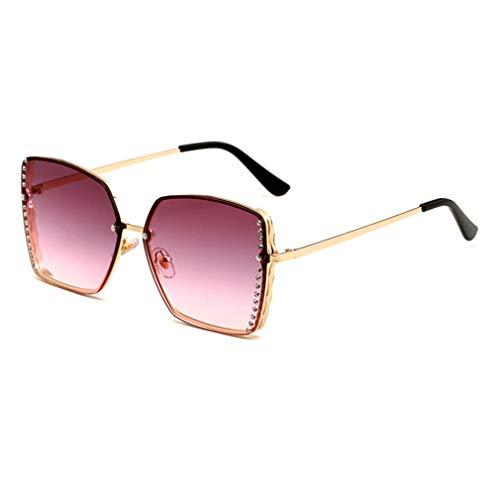 YHgiway Women es Rimless Sonnenbrille Square Gold Frame Sparkling Rhinestone Celebrity Shades Sonnenbrille für Driving//Holiday/Traveling, UV 400 Schutz YH7124,PurplePinkLens