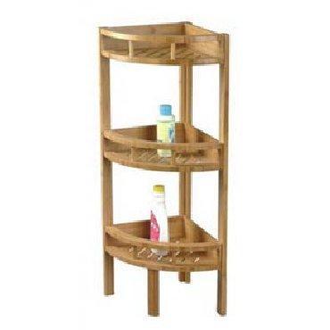 Estantería esquinera con 3 niveles de bambú para el cuarto de baño o la cocina