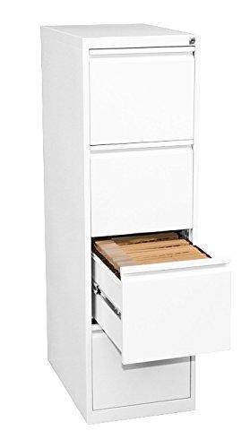 Profi Stahl Büro Hängeregistratur in weiß Schrank Bürocontainer 1320 x 400 x 620mm (HxBxT) mit 4 Schüben, einbahnig 560417 kompl. montiert und verschweißt - Stahl-schrank-container