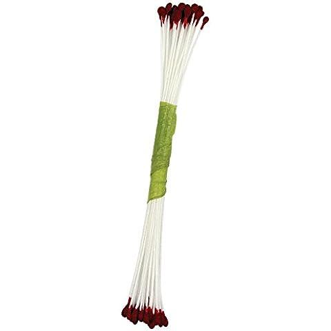 JEM stami per zucchero fiori perla medio bordeaux, confezione da 50pezzi, colore: rosso