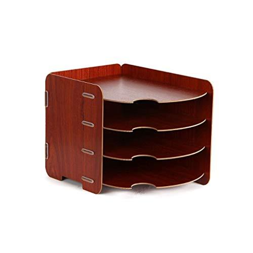 Scaffale per riviste in Legno Scaffale per File a Quattro Strati per Desktop Organizzatore Armadio per scrivania Adatto per L'Ufficio a casa Marrone-Rosso 33 * 27 cm xiuyun