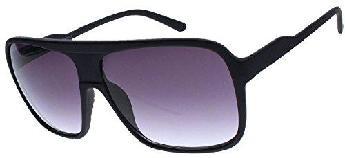 Old School Sonnenbrille Herren Nerd Brille 80er Jahre Flat Top oversized (matt schwarz)